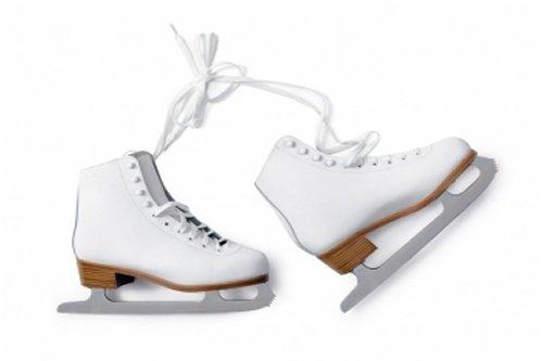 2 white ice skates
